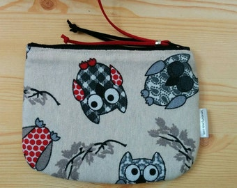Owls pouch,owls fabric, owls coin purse, owls bag, owls canvas, owls print, fabric pouch, canvas pouch, canvas owl, owls beauty bag