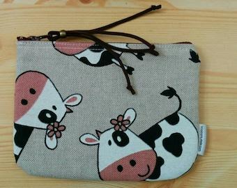 Cows pouch,cows fabric, cows coin purse, cows bag, cows canvas, cows print, fabric pouch, canvas pouch, canvas cow , cows beauty bag