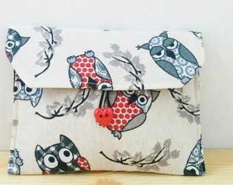 Owls pouch,owls wallet, owls coin purse, owls bag, owls canvas, owls fabric, fabric pouch, canvas pouch, canvas bag, canvas owl,heart button
