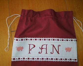 Bread bag, kitchen bag, bread keeper, food bag, embroidered bag, pigs bag,home bag,bread holder,red bag,kitchen red,bread kitchen bag