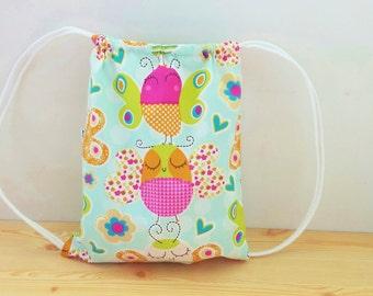 Butterfly backpack,children backpack,string backpack,children bag,draw string bag,kawaii bag,school bag,lunch bag,clothes baby bag,kids bag