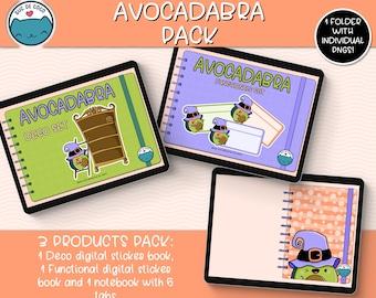 AVOCADABRA Mega Pack, kawaii illustration, digital sticker book for digital Planners, Goodnotes file + individual transparent pngs.