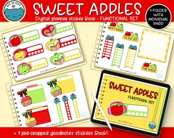 SWEET APPLES FUNCTIONAL,kawaii illustration,digital sticker book for digital Planners,Goodnotes file +individual transparent pngs.Hand drawn