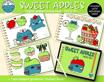 SWEET APPLES  Deco Set ,kawaii illustration,digital sticker book for digital Planners,Goodnotes file +individual transparent pngs.Hand drawn