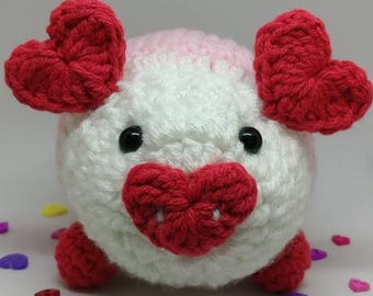 Valentines Day Piggy.  Desk accessory/ pin cushion/home decor/collectible
