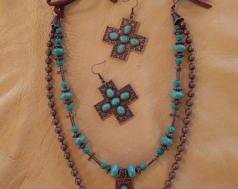 Cowgirl Western Bling Turquoise Southwest Necklace & Earrings