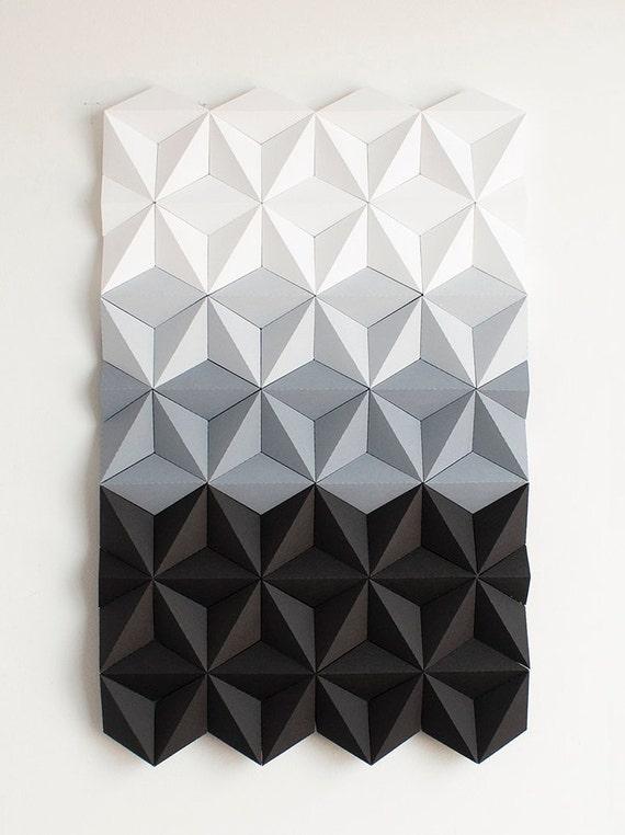Mosaic Wall Art Black And White Wall Art 3d Geometric Wall Etsy