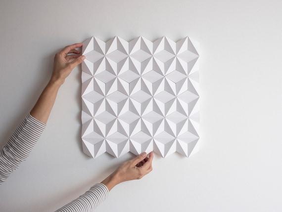 White 3d Wall Art Square Wall Decor Geometric Wall Panel Etsy
