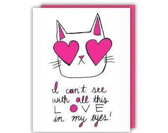 Love Card - Love in my Eyes - Greeting Card - Cat Lover Gift