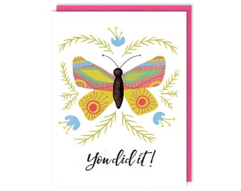 You Did It! - Congratulations - Graduation Card - Butterfly - Greeting Card