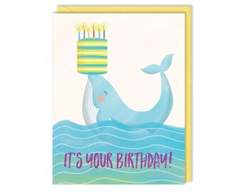 Whale Birthday - It's Your Birthday - Whale of a Time - Birthday Card - Greeting Card