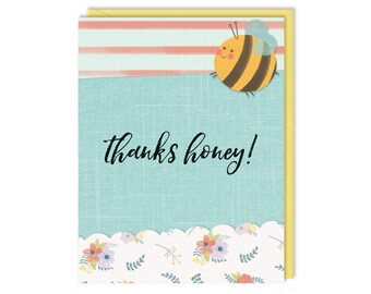 Bumblebee Thank You - Thanks Honey - Thank You Card - Greeting Card - Cute Stationery
