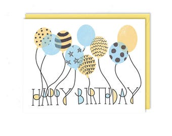 Birthday Card - Birthday Balloons - Unique Gift - Greeting Card