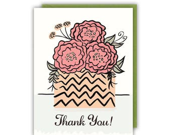 Thank You Card - Thank You Bouquet - Floral - Greeting Card