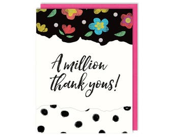 Floral Thank You Card - A Million Thank Yous - Greeting Card