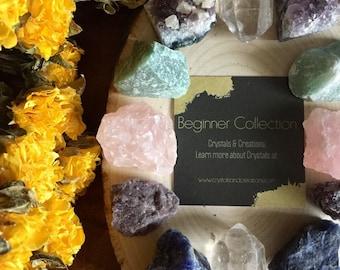 Beginner Crystal Set   Starter Kit with 6 Raw Natural Crystals and Stones   Bohemian Decor   Amethyst Clear Quartz Rose Quartz Lepidolite