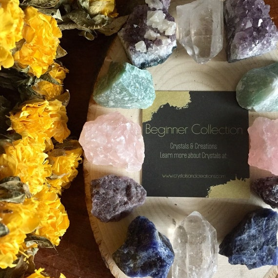 Rough Stones Mother/'s Day Gift Set Lepidolite Stone Set In Wood Box Gift for Her Home Decor Healing Crystals Crystal Starter Kit