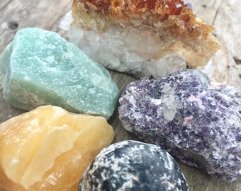 Luck and Empowerment Crystal Set Luck Stones Collection Raw Crystal Kit Crystals and Stones Rough Citrine Crystal Assortment Mineral Set