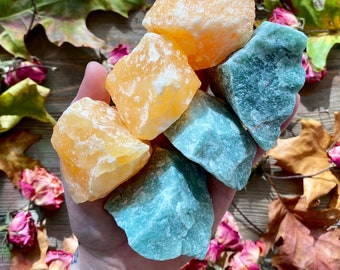 1 Large Raw Stone   Mineral   Calcite Aventurine Rose Quartz   Healing Crystals and Stones   Meditation  