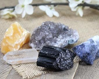 New Beginnings Crystal Set Stone Kit Raw Amethyst Crystal Crystal Grid Raw Crystal Healing Crystal Stones Bohemian Decor Easter Gift Ostara