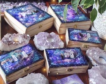 Crystal Galaxy Box | Made to Order | Tarot Box Oracle Cards Hand Painted Galaxy Decor Painted Altar Box | Crystal Box | Boho Decor