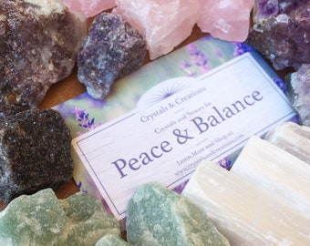 Peace and Balance Crystal Set   Crystals for Anxiety   Zen Calming Stones   Raw Crystal Collection   Reduce Stress Crystals and Stones
