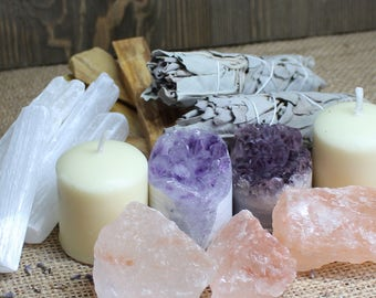 6 Piece Smoke Cleansing Set // Healing Crystals and Stones // Smudge Kit // Protection // House Warming Gift // Amethyst Selenite