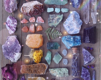 Intuitively Chosen Raw Crystal Set | Natural Crystal Collection | Rough Crystal Healing Crystals and Stones Geode Bohemian Decor Amethyst