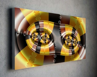 Yellow and orange 3d fractal canvas wall art with brown tones