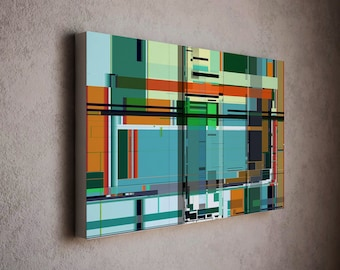 Stylish modern art canvas print in Mondrian style and proportional dimensions - wall decor