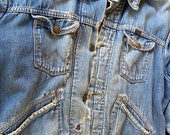 Wrangler Distressed Grunged 60-70s Jean Jacket-Plaid Wool Lining-Size 46 Photos describe it best.