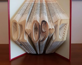 LETTER INITIAL HEART WORD LOVE FOLDED BOOK ART BIRTHDAY FIRST 1st ANNIVERSARY