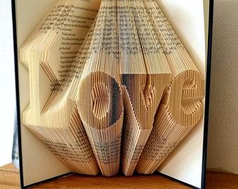 Love Folded book art, wedding gift, anniversary gift, birthday gift, gift for him, gift for her, trending now! Best seller!