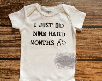 I just did nine hard months Funny Onesie Funny Gift Baby Shower Gift I Just  Did 9 Hard Months Onesie Personalized Onesie 836938059ac4