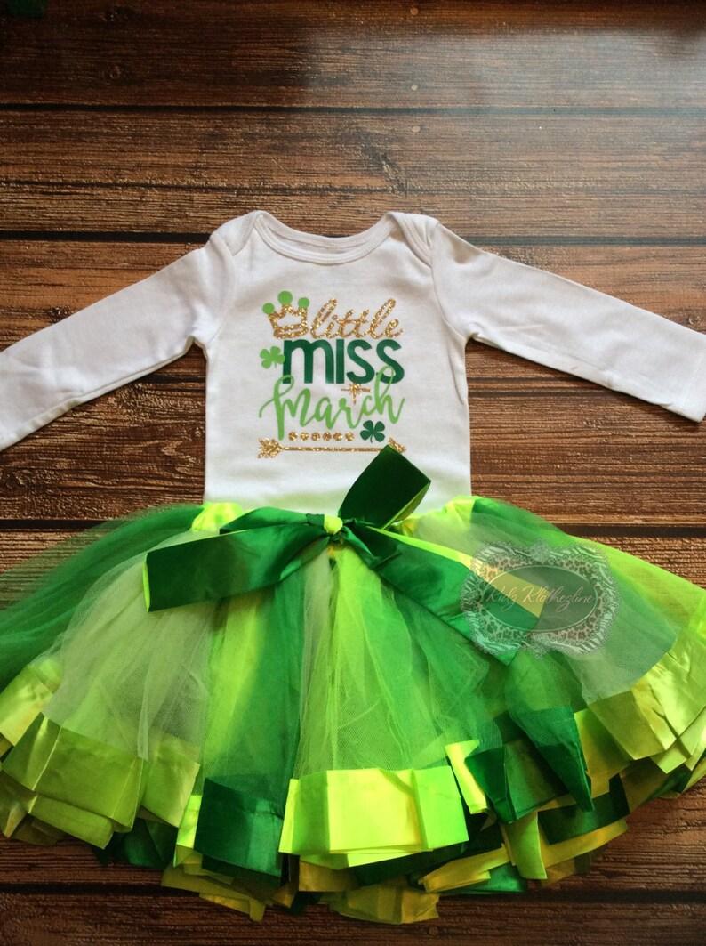 1775a5626565 St Patricks Day Tutu Set Baby Onesie Little Miss March Onesie
