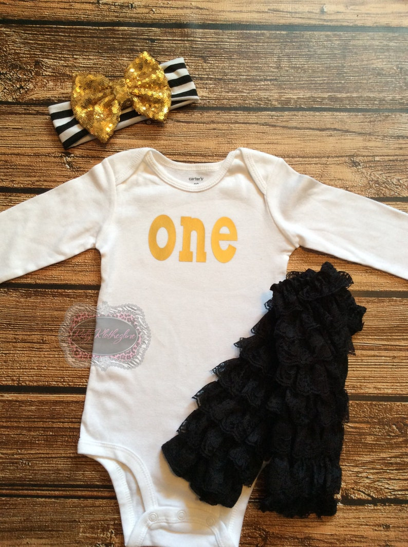 Baby Onesie One Onesie 1st Birthday Onesie Outfit One Gold Onesie Black Lace Leg Warmers Birthday Outfit Cake Smash Outfit Gold Headband
