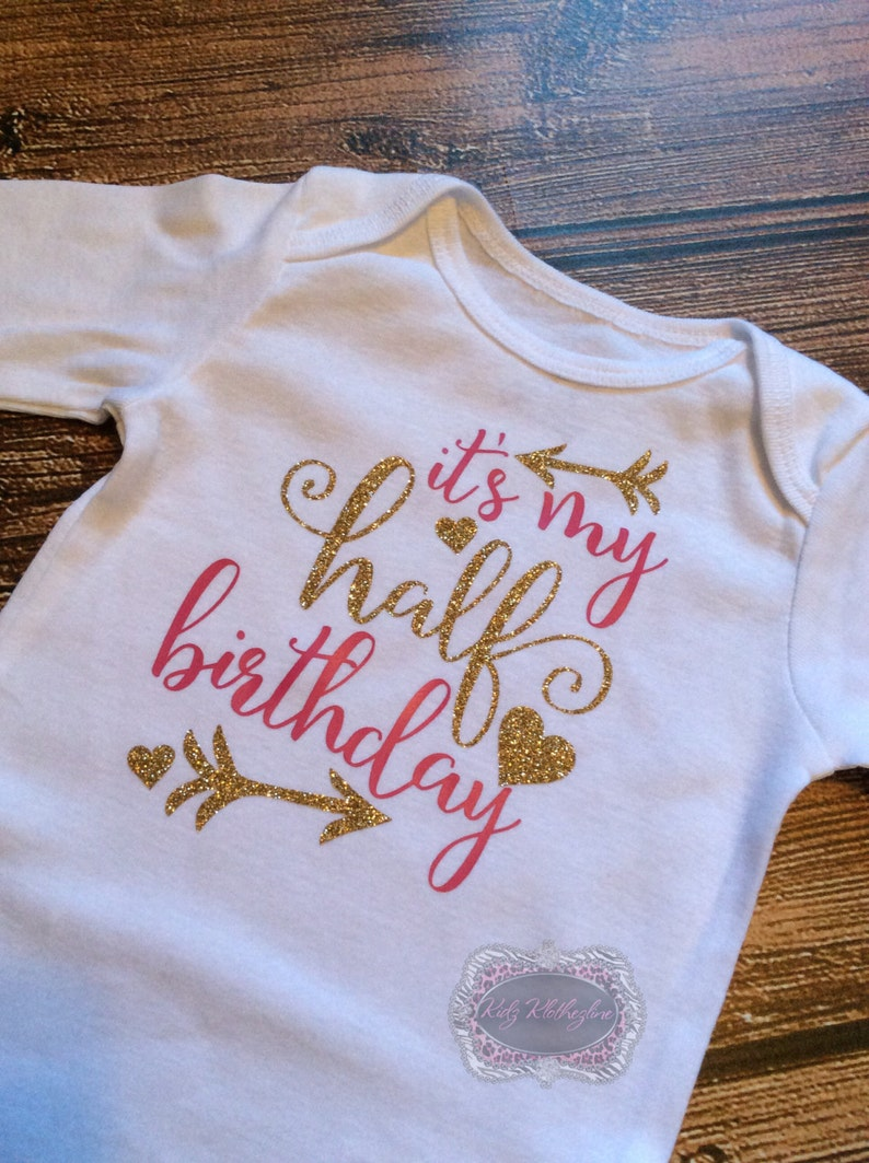 Half Birthday Onesie 1 2 Birthday Onesie Birthday Shirt Gold