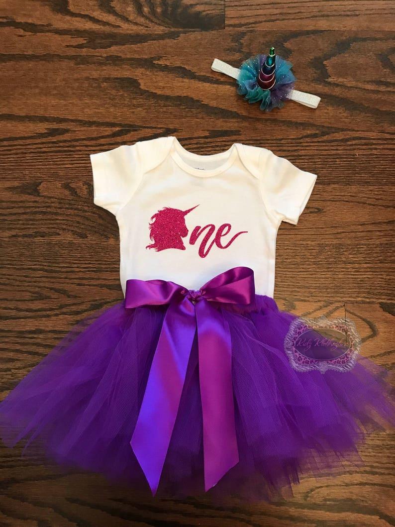 7948765b6777f Unicorn One Birthday Tutu Set Onesie Outfit Baby Girl Onesie Personalized  Onesie 1st Birthday Outfit Purple Tutu Unicorn Headband Glitter