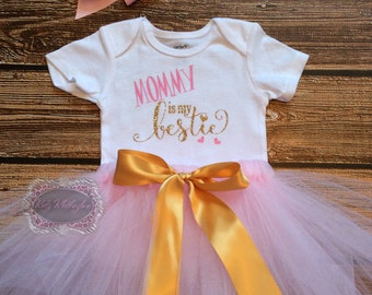 Baby Onesie Mommy Is My Bestie Tutu Set Mother's Day Onesie Outfit Baby Girl Onesie Personalized Onesie Pink & Gold Onesie Pink Bow Headband
