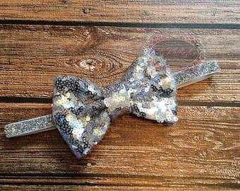Sequin Headband Glitter Headband Silver Sequin Headband Baby Headband 1st Birthday Headband Bow Headband