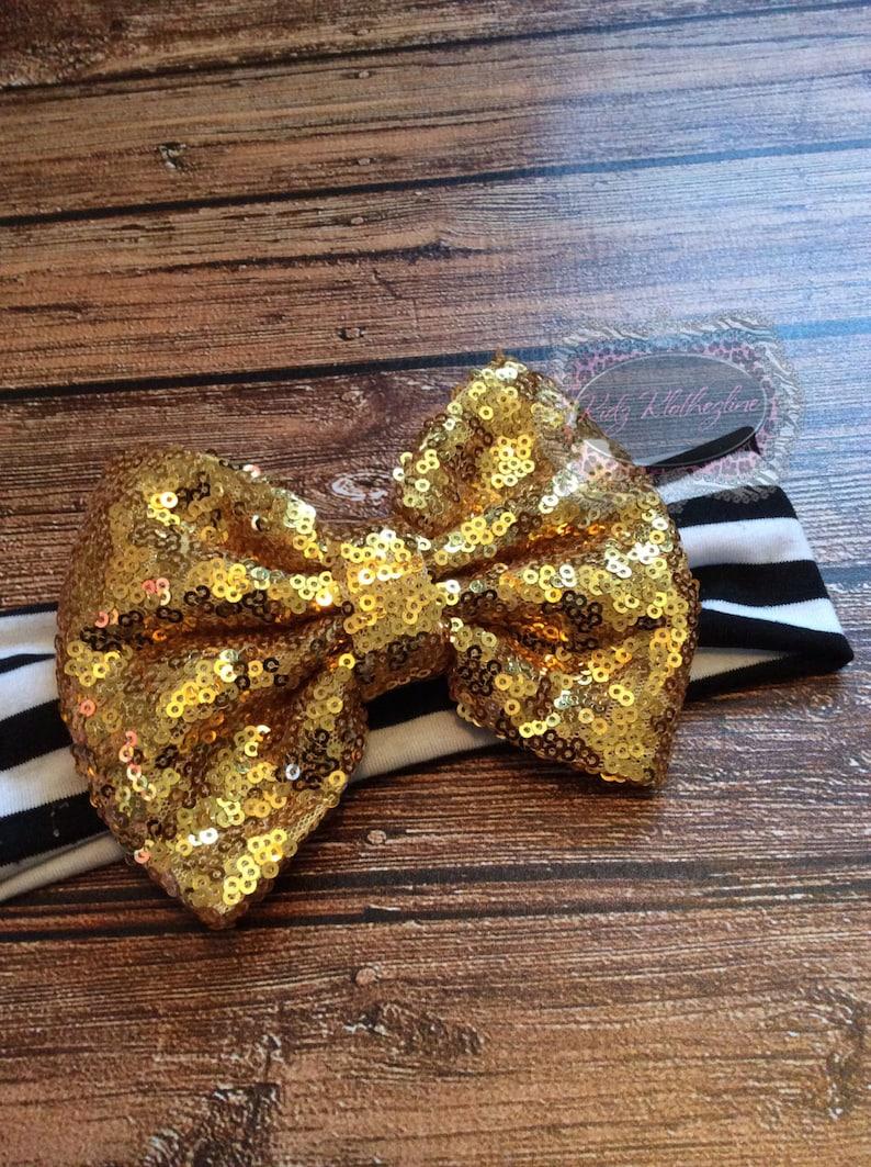 Sequin Headband Head Wrap Wide Headband Black White Gold Turban Headband Baby Turban Headband Baby Black Gold Turban Valentines Day Headband