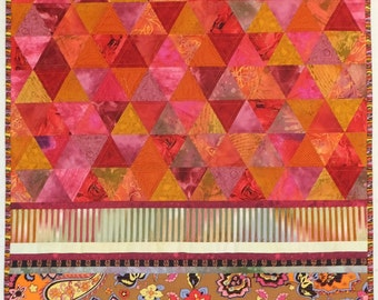 BRIGHT Orange and Pink Triangle Art Quilt