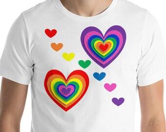 Rainbow Hearts T-Shirt, Rainbow T-Shirt, gay pride t-Shirt, Heart T-Shirt, LGBTQ T-Shirt, gay pride, pride shirt, pride t-shirt, rainbow tee