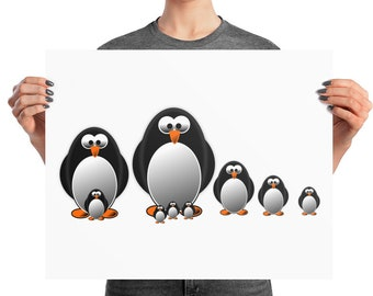 Penguin family nursery wall art, penguin print, nursery wall art, nursery decor, nursery wall decor, cartoon penguin print, funny penguin