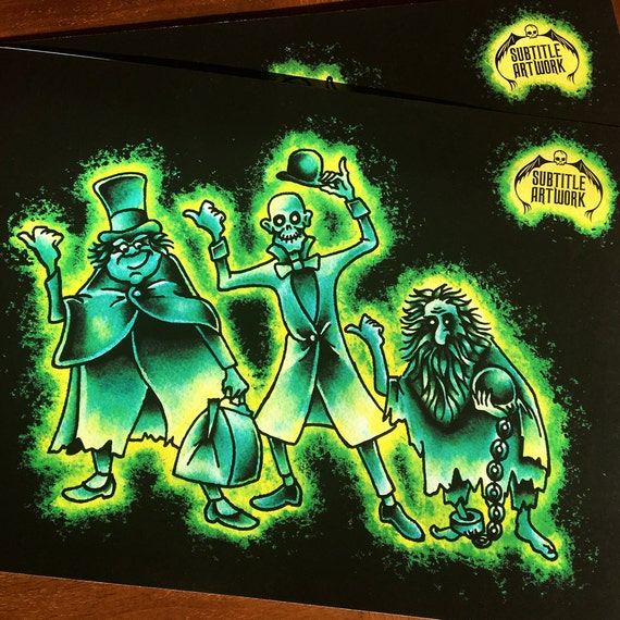 Haunted Mansion Hitchhiking Ghosts Inspired Tattoo Flash A4 Giclee Print Disneyland Disney Tribute Retro Vintage Horror