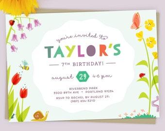 Wildflower Birthday Invitation   Nature birthday Party    Girls Nature Party