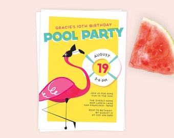 Flamingo Pool Party Invitation   Flamingo Party   Birthday Party Printable or Evite