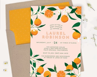 Baby Shower Invitations   Orange Citrus Baby Shower   Baby Brunch Invitations   PRINTABLE, PRINTED, or EVITE   0113