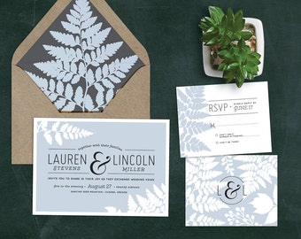 Fern Wedding Invitation Set with RSVP   Forest, Woodsy, Romantic, Rustic