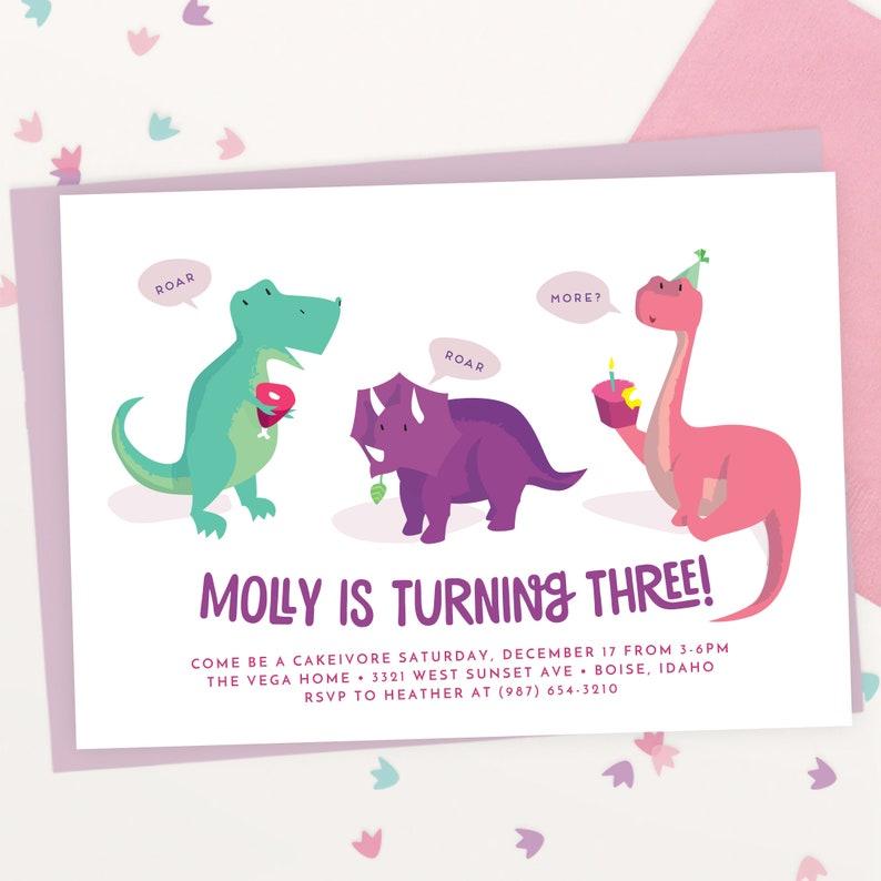Girls Dinosaur Birthday Invitation  Pink Dinosaur Party  image 0